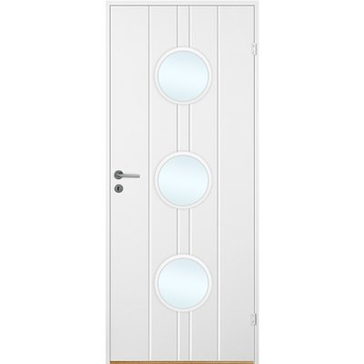Innerdörr Bornholm - Kompakt dörrblad, spårfräst dekor & runda glaspartier A16