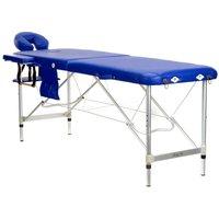 Massagebänk med metallben - 2 zoner - Blå