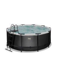 Pool ø360x122cm med filterpump - Svart