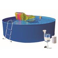 Pool med plåtsarg & reningsverk - 350 x 90 cm