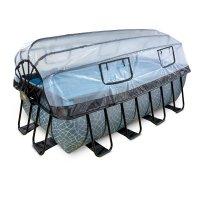 Pool 400x200x122cm med tak och sandfilter och värmepump - Grå