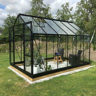 Växthus Neptunus - Svart 9,6 m² härdat glas