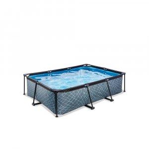 Pool 220x150x65cm med filterpump - Grå