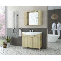 Möbelpaket Ritmo 95 - Natural Oak med spegelskåp