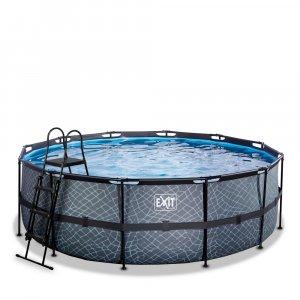Pool ø427x122cm med filterpump - Grå