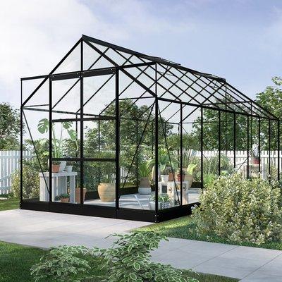 Växthus Neptunus - Svart 12,8 m² härdat glas