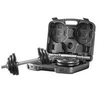 Hantelset - Svarta vikter & kromad stång - 20 kg
