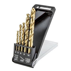 Borrsats HSS-TiN, 4 - 10 mm, 5 delar