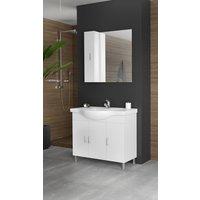 Möbelpaket Alba 100 vit med spegel   väggskåp