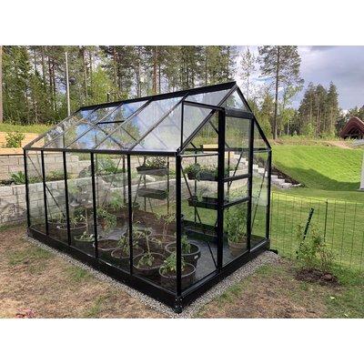 Växthus Neptunus - Svart 6,2 m² härdat glas