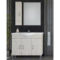 Möbelpaket Alba 100 beige med spegel   väggskåp