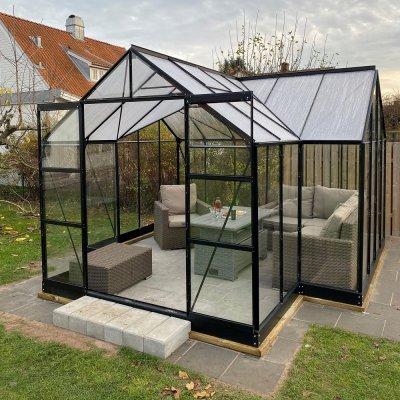 Växthus Saturnus med härdat glas - 12,8 m²