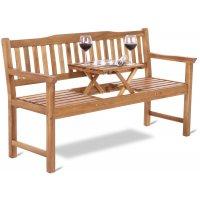 Bänk Lux - Trädgårdsbänk med uppfällbart bord (Acacia-trä)