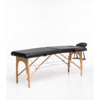 Massagebänk med träben - 2 zoner - Svart
