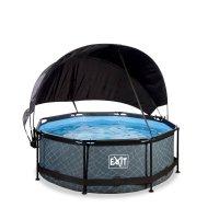 Pool ø244x76cm med solsegel och filterpump - Grå