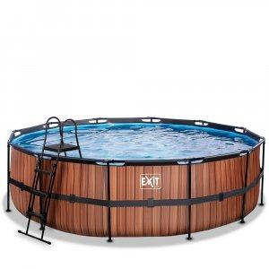 Pool ø488x122cm med sandfilterpump - Brun