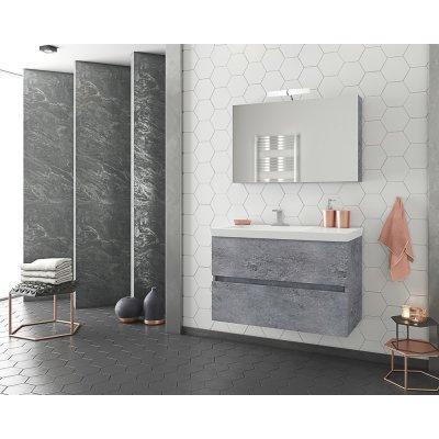 Möbelpaket Luxus 85 - Granitfärgat med spegelskåp