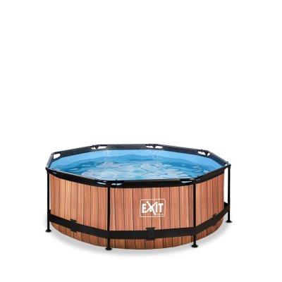 Pool ø244x76cm med filterpump - Brun