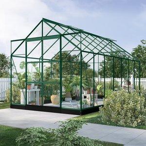 Växthus Neptunus - Grönt 11,2 m² härdat glas