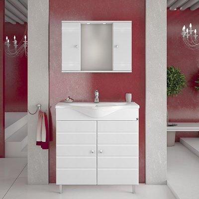Möbelpaket Capri 80 vit med spegelskåp