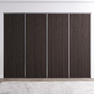 Venedig skjutdörr till garderob - 4 dörrar - Panel (flera färgval)