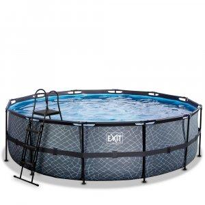 Pool ø488x122cm med sandfilterpump - Grå