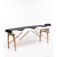 Massagebänk med träben - 2 zoner - Svart/Vit