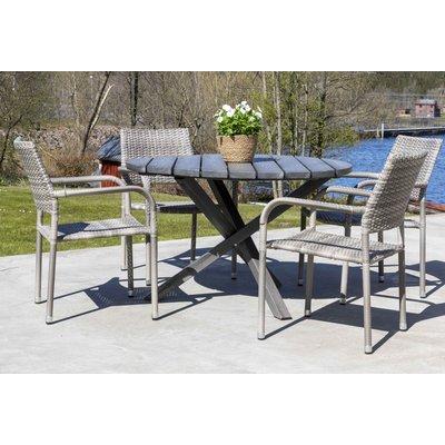 Scottsdale utematgrupp med 4 st karmstolar (stapelbara) och matbord Ø112 cm - Grå konstrotting